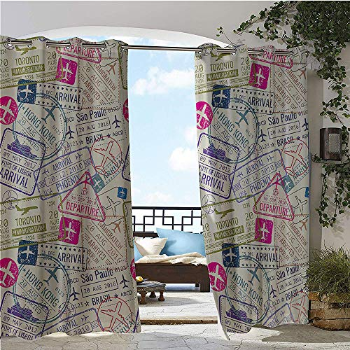 1GShophome Traveller Decor Sheer Curtains Passport Visa Stamps Illustration Toronto Hong Kong Berlin Print Outdoor Patio Egg Shell and Pink W120 x L84 in (Toronto Sheer Curtains)