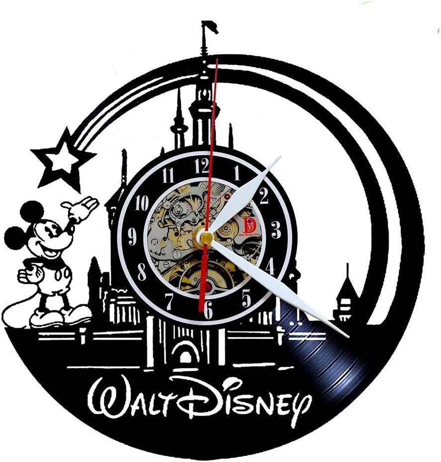 Mickey Mouse Mignon Walt Disney Disco Vinilo reloj de pared Creative cámara Art Décor - Única Idea de regalo a la mano para chicos chicas Halloween Navidad y cumpleaños (30cm Redondo)