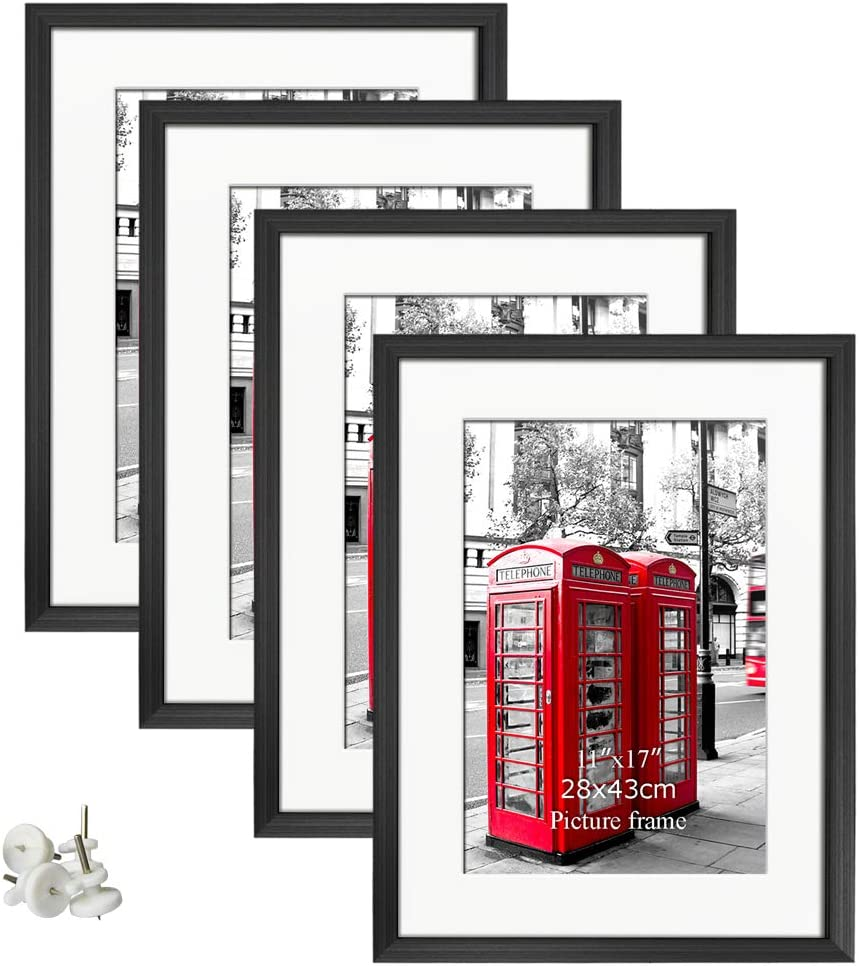 Giftgarden 16x20 Poster Frames Set of 4, Display Photos 11x17 with Mats or 16 x 20 Without Mats Black Picture Frame for Wall Decor