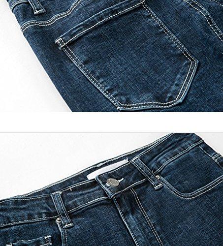 Casual Droites Pantalons Denim Skinny ZhiYuanAN Crayon Mode De Boucl Bleu Chic Femme Pantalon Jeans Jegging Cowboy FtwSqTwP
