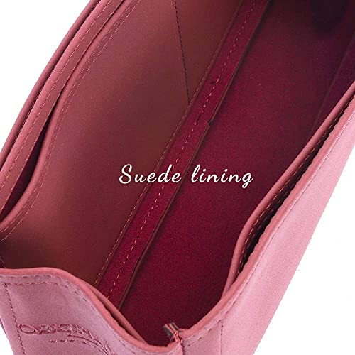 Leather Purse Inserts Melie Deluxe Leather Handbag Organizer in Maroon Color Leather bag insert for LV Melie