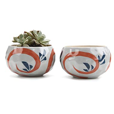 T4U 4.25 Inch Ceramic Japanese Style Clay Serial Red Grass succulent Plant Pot Cactus Plant Pot Flower Pot Container Planter Package 1 Pack of 2