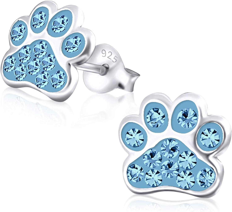 Laimons Kids Pendientes para niña Huella de perro colorido Brillante Plata de ley 925