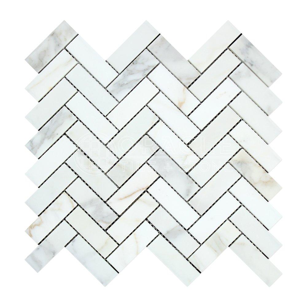 Calacatta Gold (Italian Calcutta) Marble 1 X 3 Herringbone Mosaic Tile, Honed