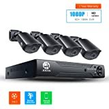 JOOAN4x1080PHome SecurityCameraSystemCCTVVideoSurveillanceCamerasWithNightVision&MotionDetectionEmailAlarm&Cloudstorageand8Channel1080NDVR (WithoutHardDrive)