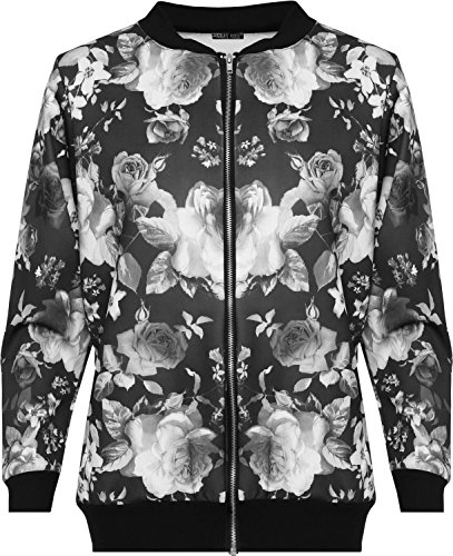 Click Selfie? New Womens Plus Size Full Zip Printed Bomber Blazer Jackets 14-28 Black Rose
