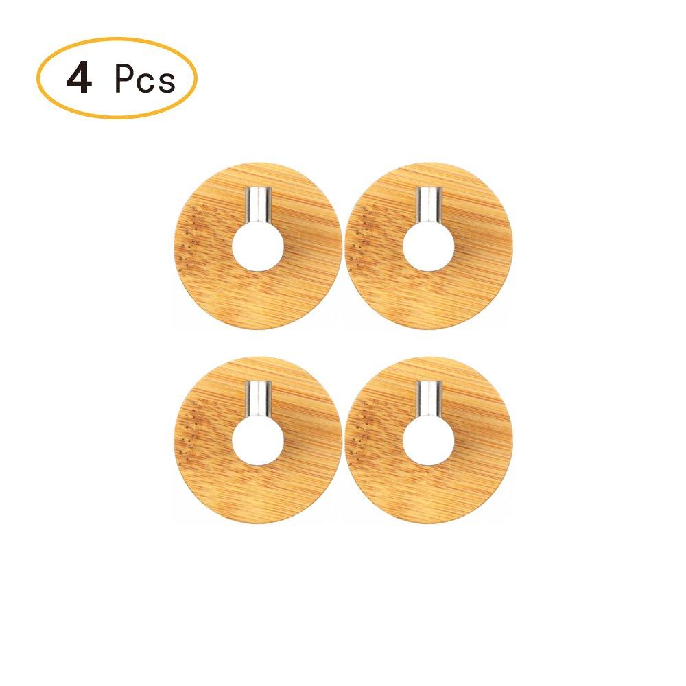 Self Adhesive Wall Hooks Natural Bamboo Wall Coat Rack, Towel Bag Key Holder Hanger Single Hooks Set of 4