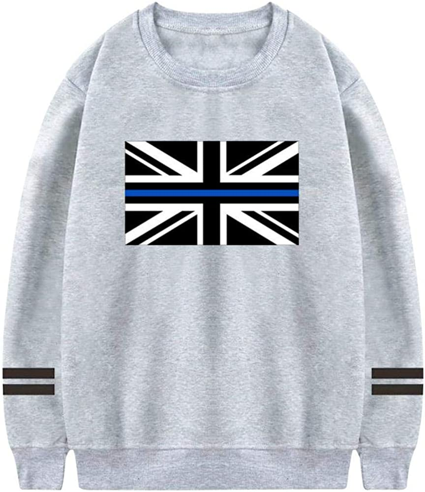 XiuHongShangMAo Mens Thin Blue Line UK Flag Crewneck Athletic Sweatshirt Cotton Pullover