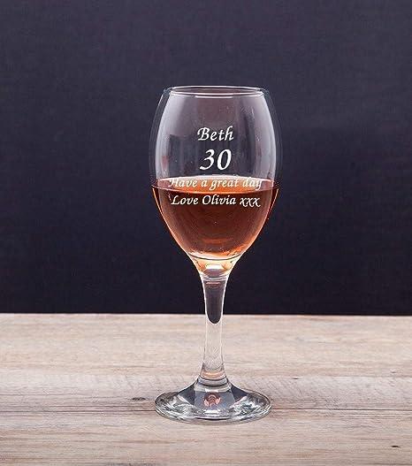 Copa de vino de cumpleaños personalizable para mujer, color ...