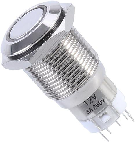Winomo 16mm 12v Druckschalter Schalter Druckknopf Metall Led Ein Ausschalter Drucktaster Für Auto Kfz Rot Küche Haushalt