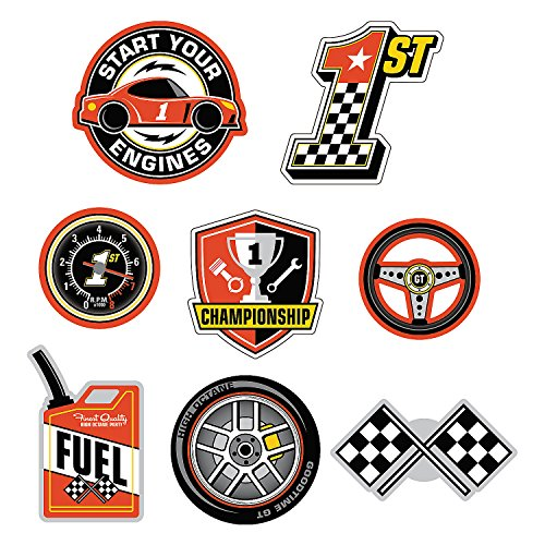 (Fun Express - 1st Birthday Race Car Wall Cut Outs for Birthday - Party Decor - Wall Decor - Cutouts - Birthday - 8 Pieces)
