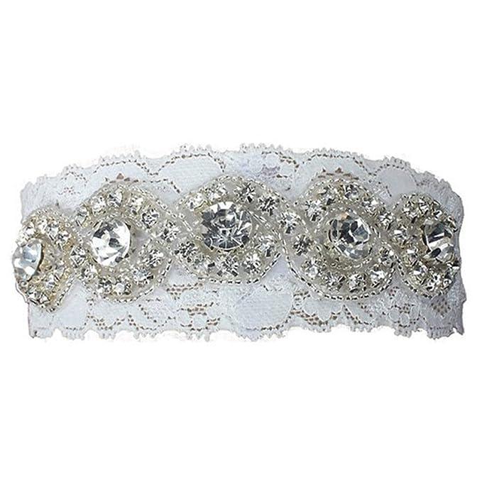 online store c7248 6115c Jelinda® Weiß Spitze Braut Strumpfband mit Strass Hochzeit ...