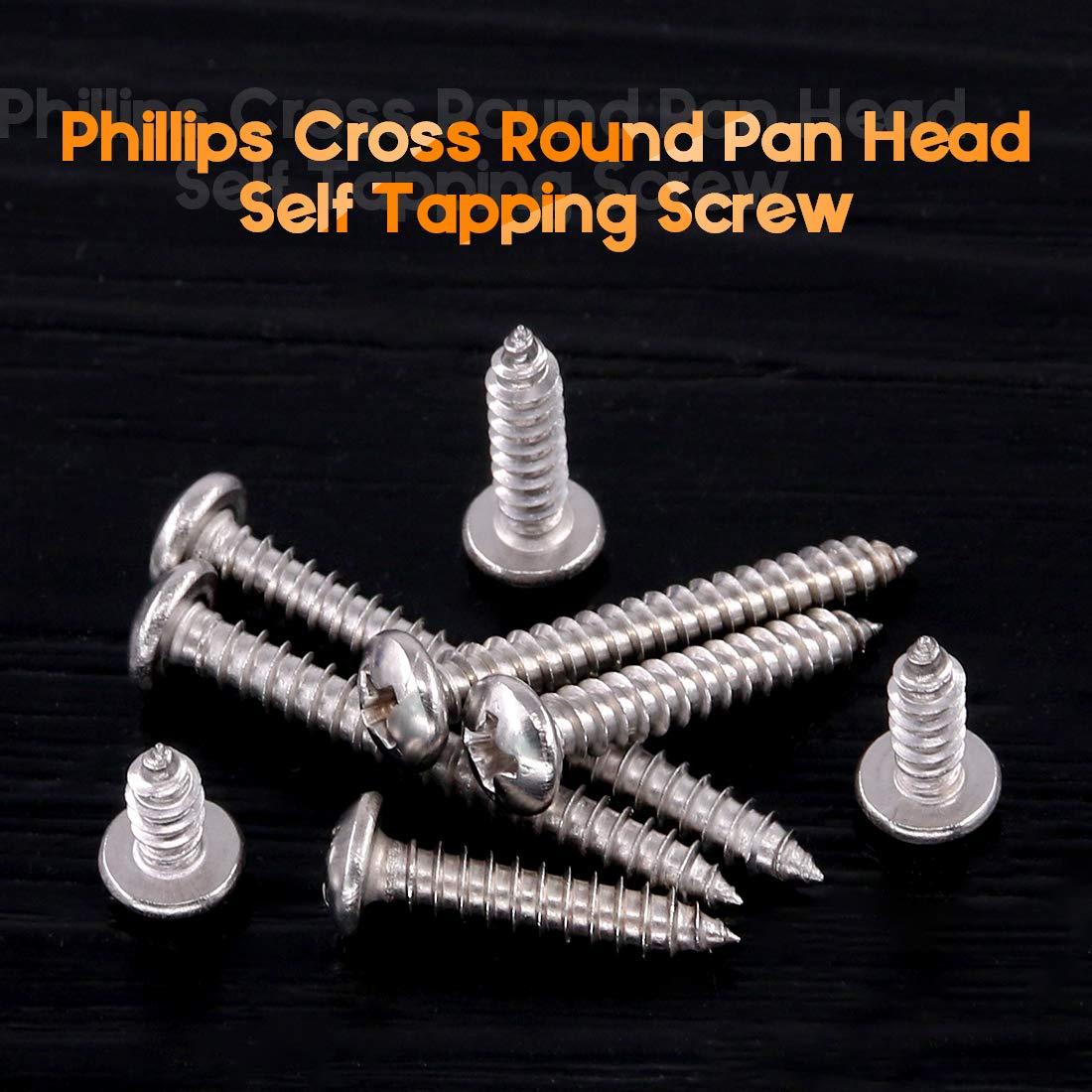 Rustark 180-Pcs #8 3//8 to 1-1//2 304 Stainless Steel Round Pan Head Phillips Cross Wood Screws Self Tapping Drilling Screws Assortment Kit