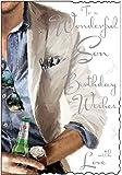 """Jonny Javelin Son Birthday Card (JJ4109) Man Holding Beer Bottle 9"""" x 6.25"""" Code V301"""