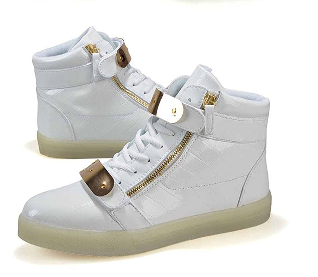 white32 XIN BARLEY Boy Girl LED Light Up Shoes Street Style Gold Tone Zip Sneakers Toddler//Little Kid//Big Kid