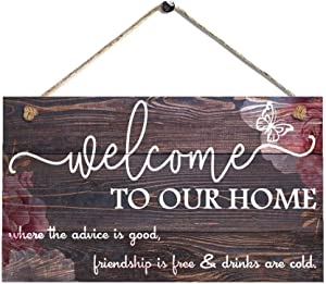 AJHERO Welcome to Our Home,Rustic Welcome Sign,Wooden Home Signs - Housewarming Gift - Farmhouse Decor, Front Door Decorations 5X10-5