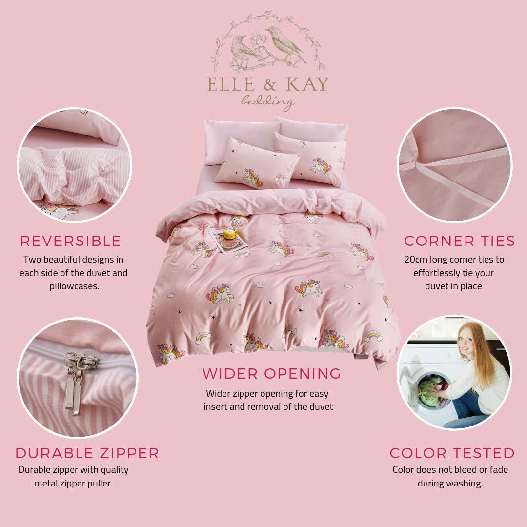 ELLE & KAY Unicorns Duvet Cover Set/Unicorn Kids Bedding/ 100% Cotton Queen Zipper Bedding/Full Reversible Girls Comforter Cover/ 3 Piece Queen Duvet Cover Set. by ELLE & KAY (Image #2)