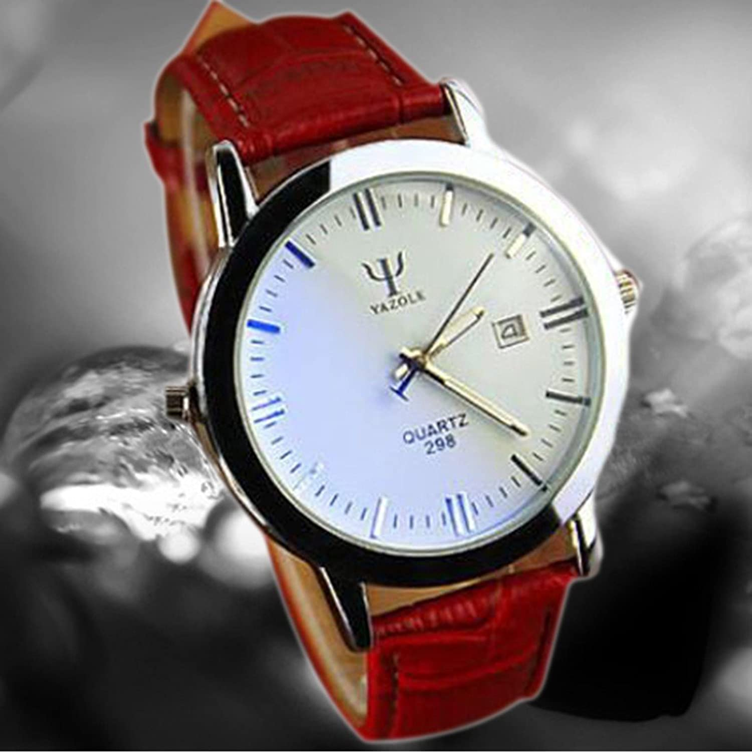 Amazon.com: Men Watches Business Luxury Wristwatches Men Pu Leather Sports Watch Auto Date Relogio Masculino White & Red: Watches
