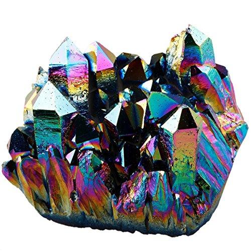 - SUNYIK Rainbow Aura Titanium Coated Crystal Cluster,Quartz Drusy Geode Gemstone Specimen Figurine(0.4-0.45lb)