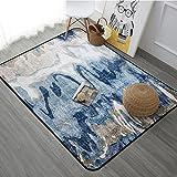 European Style Simplicity Modern Living Room Bedroom Carpet Coffee Table Sofa Non-slip Rectangular Rugs ( Color : Blue , Size : 120180cm )