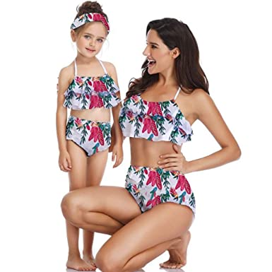 6366b48ed2 Meidefafa Mother Daughter Matching Floral Swimwear Bikini Sets: Amazon.in:  Clothing & Accessories