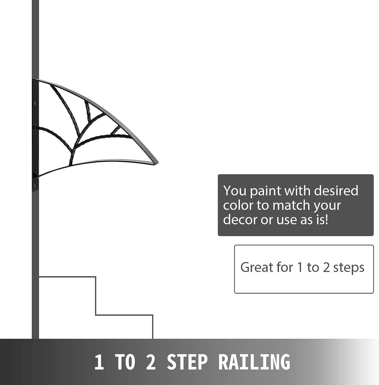 VEVOR Rampe descalier Fer Forg/é Main Courante pour Escalier Int/érieur 18 Garde-Corps Escalier Int/érieur S/écuritaire Barre descalier en Fer Forg/é 1 /à 2 Marches Forme Feuille Porche Entr/ée Jardin