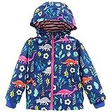 Birdfly Little Girls Dinosaur Print Hooded Jacket Sporty Windbreaker Children Kids Outwear Coat (6T, Blue)