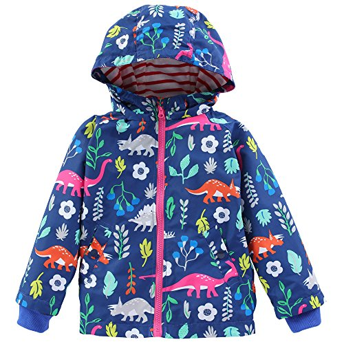 Birdfly Little Girls Dinosaur Print Hooded Jacket Sporty Windbreaker Children Kids Outwear Coat (6T, Blue) by Birdfly
