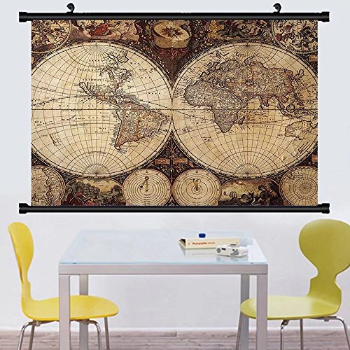 Gzhihine Wall Scroll Map Wanderlust Decor mage of Old World
