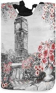 RunningBear Laundry Basket Washing Clothes Hamper - London City Landscape Flower Rose Leaf Big Ben Collapsible Laundry Hamper Large Capacity Clothing Basket for Bathroom, Toys