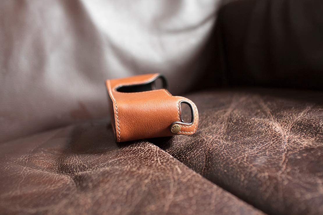 Handmade Genuine Real Leather Half Camera Case Bag Cover for Hasselblad XPan II Dark Brown