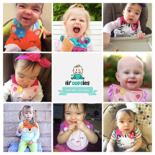 Lil' Oopsies Toddler Bibs Set of 4 - Premium Quality, 3 Layered Absorbent & Waterproof Teething, Feeding & Drooling Bibs. Unique Baby Shower Gift for Girls. Suitable for Husky Babies to Toddlers.