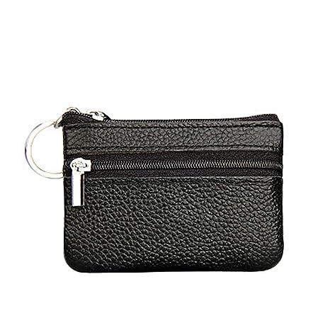 Doitsa - Monedero multifuncional con cremallera, mini bolso para monedas, bolsa de piel sintética para mujer, 1 unidad, Piel sintética, Negro , 10X7cm