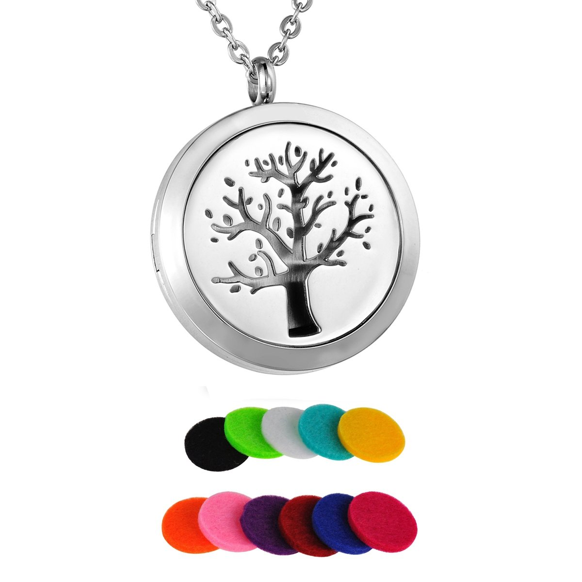 HooAMI Tree of Life Aromatherapy Essential Oil Diffuser Necklace Locket Pendant 11 Felt Pads TY EGBETY102415
