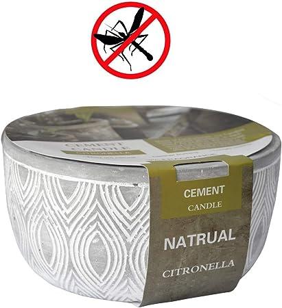 Hogar y Mas Vela Citronela Jardín Exterior, Vela Anti-Mosquitos Grande con Soporte de Cemento 14,5x14,5x7,5cm - Verde: Amazon.es: Hogar