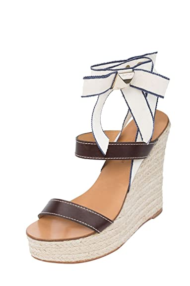ab303d1f301 Dsquared2 Women Brown Leather Espadrilles Platform Wedge Heel Sandals Shoes  US 6 EU 36