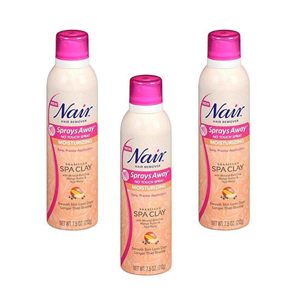 Nair Sprays Away, Brazilian Spa Clay, 7.5 Oz - 3 Pack