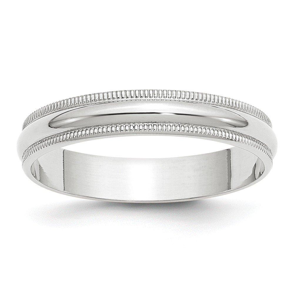 Solid 10k White Gold 4mm Milgrain Half Round Wedding Band Size 9