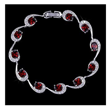GUARD Women Fashion Artificial Gem Heart Crystal Silver Zircon Lobster Clasps Women Bracelet (Red)