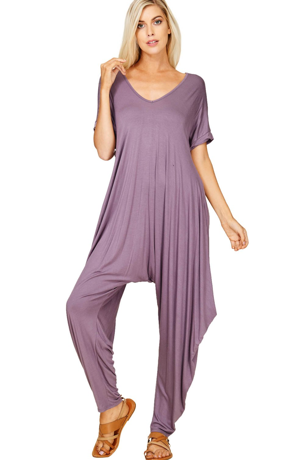 6452d1bd107 Annabelle Women s Comfy Casual Short Sleeves Harem Long Pants Jumpsuits  With Pockets Small Purplish J8051