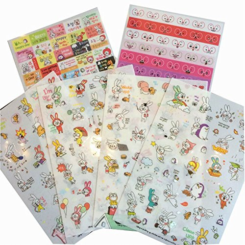 Decorative Stickers DIY Diary/ Photo Album Stickers,12pcs [Large Glasses Rabbit] by Black Temptation