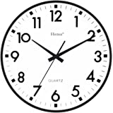 hense concise modern minimalist wall clock 13 inches non ticking silent quiet sweep second decorative vintage brick desk wall clock