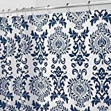 Long Shower Curtain mDesign Long Decorative Damask Print - Easy Care Fabric Shower Curtain with Reinforced Buttonholes, for Bathroom Showers, Stalls and Bathtubs, Machine Washable - 72