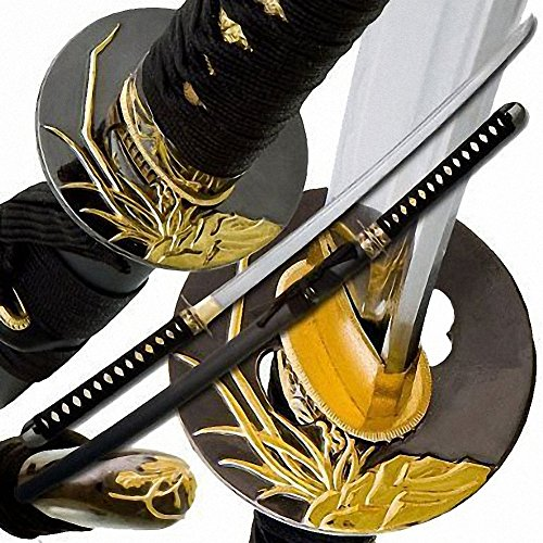 Makoto Hand Forged Razor Sharp 40 Black Samurai Katana Sword – Golden Orchid Tsuba