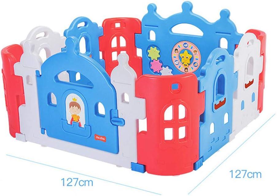 ロックされたドアアクティビティセンター付きベビーベビーサークル赤ちゃんと子供のための安全遊び場-屋内屋外頑丈なベースプレイフェンス-明るくカラフルなデザイン