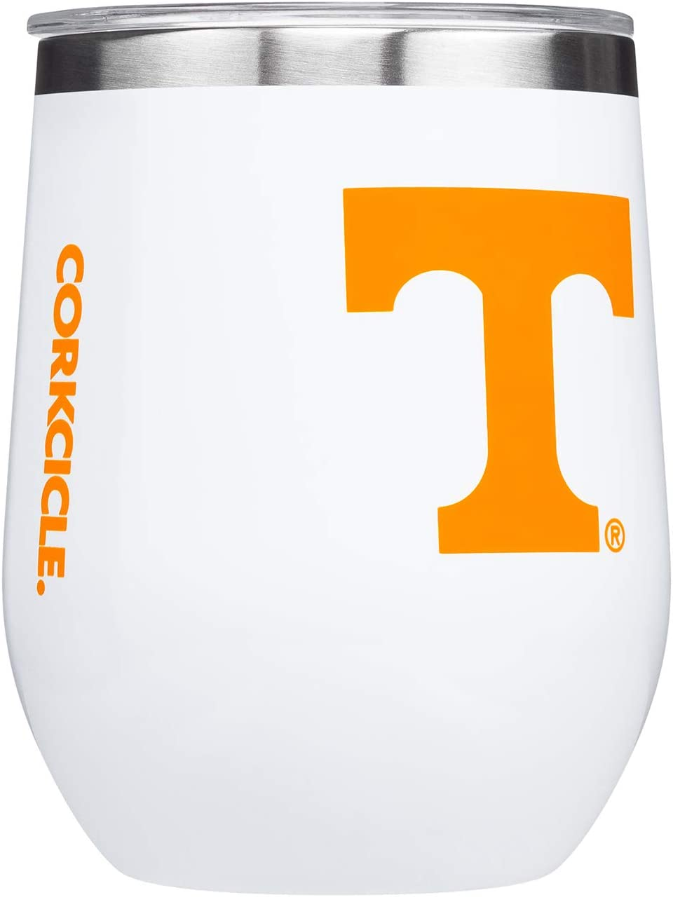 Corkcicle  Stemless - 12oz NCAA Triple Insulated Stainless Steel Stemless Wine Glass, University of Tennessee Volunteers, Big Logo