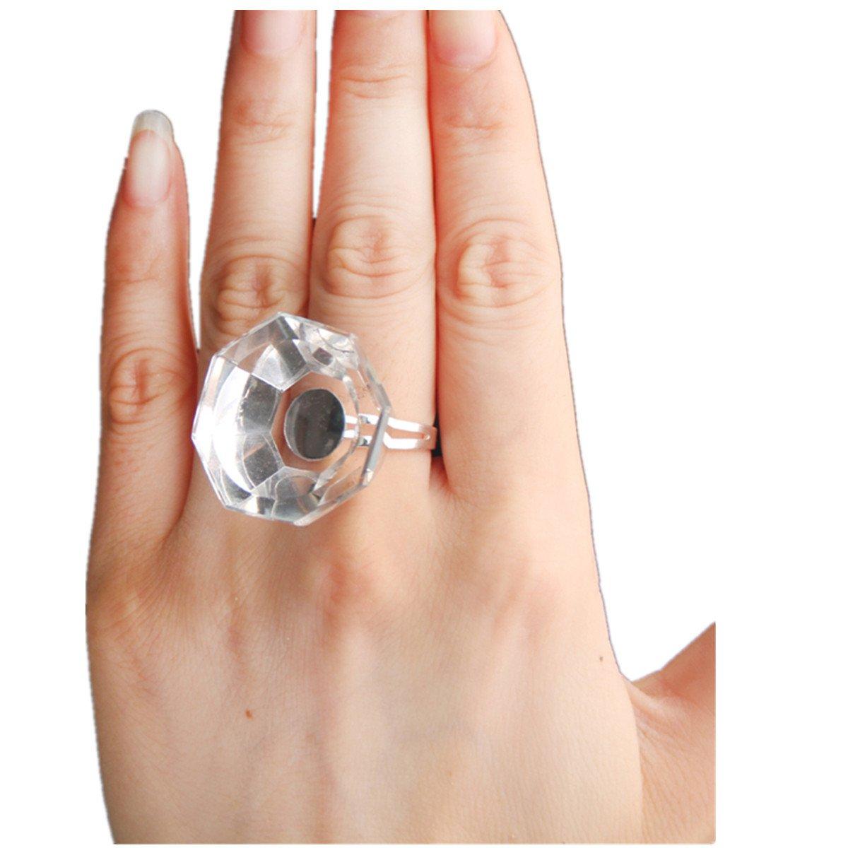 Frcolor Applicatore per Extension Ciglia Finte Anello di Vetro Cristallo Titolare Colla Adesivo Reuseble
