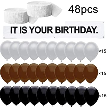 It Is Your Birthday.It Is Your Birthday The Office Birthday Decorations Banner 48 Pc Set Vinyl Banner Brown Black Gray Balloons White Crepe Streamers Roll The Office