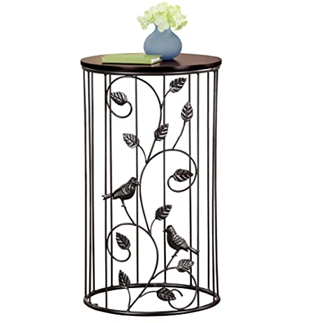 Round Wrought Iron Side Accent Table W/ Scrolling Vine Design U0026 Wood Top