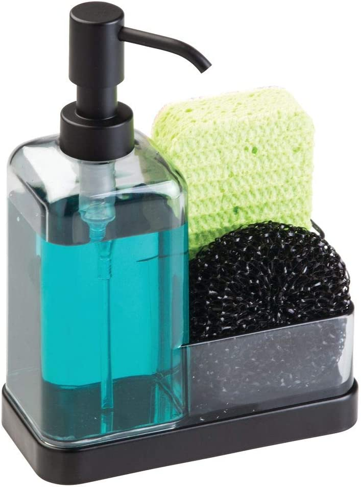 mDesign Soap Dispenser Pump with Sponge and Scrubber Organizer for Kitchen Countertops - Graphite/Matte Black